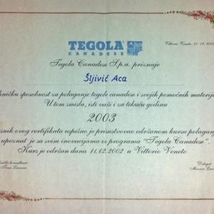 Tegola sertifikat, 2002