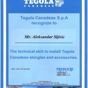Tegola sertifikat, 2005