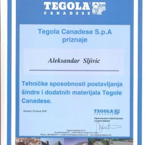 Tegola sertifikat